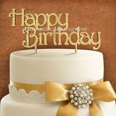 aMonogramArtUnlimited Happy Birthday Wooden Cake Topper Color: Island Sand
