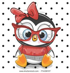 Illustration about Cute Cartoon Penguin with red glasses on a dots background. Illustration of head, animals, holding - 105862839