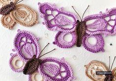 Three Crochet Butterfly Motifs  - Free Crochet Patterns - (mypicot)