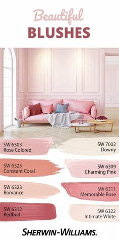 Stay rosy all day with this pink palette that's a wonderful delight for your eyes. Using pink on your walls promotes hope and playfulness in a space, so it's perfect for rooms where all the fun happens because it inspires a positive spirit. Pink Paint Colors, Paint Colors For Home, House Colors, Light Pink Paint, Light Pink Walls, Light Paint Colors, Soft Pink Color, Pantone, Spiegel Design