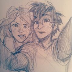 dumb couple that can't take a regular smiling pic together by burdge ~~ Harry and Ginny selfie? dumb couple that can't take a regular smiling pic together by burdge ~~ Harry and Ginny selfie? Fanart Harry Potter, Arte Do Harry Potter, Harry Potter Drawings, Croquis Couple, Harry Et Ginny, Ginny Weasley, Harry Harry, Hermione, Drawing Sketches