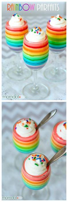 Rainbow Jello Parfait, yum! #yum #dessert