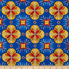 Designed by Robin Pickens for Robert Kaufman, this cotton print fabric is perfect for quilting, apparel and home décor accents. Colors include white, red, mango, light blue and medium blue.