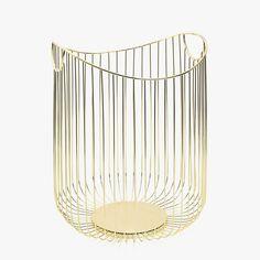 Zara Home's Spring Line Is Refreshingly Devoid of Florals Gold Wire Basket, Wire Basket Shelves, Metal Baskets, Linen Baskets, Zara Home Collection, Spring Collection, Glass Furniture, Glass Candlesticks, Basket Decoration