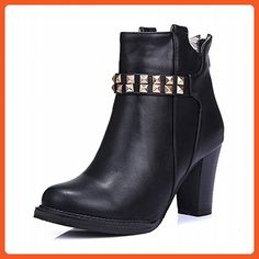 Carolbar Women's Studded Zipper Retro Fashion Rivet High Heel Short Boots (6, Black) - Boots for women (*Amazon Partner-Link)