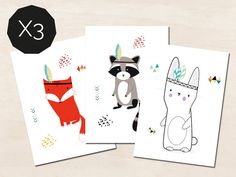 """3 postcards """"ANIMALS"""" - birthday cards - to decorate a baby's room - kids room - illustration raccoon, rabbit and fox"""