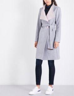 TED BAKER Kikiie wool-blend coat - selfridges