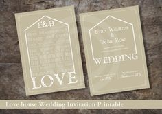 LOVE HOUSE Double Sided Wedding Invitation Printable / Custom Design Printables / RSVP and Info card Included by OstrichSistersDigits on Etsy