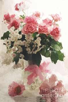 Dreamy Pink White Roses In Vintage Antique Vase Print By Kathy Fornal