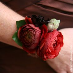 Red ranuculus with chocolate cosmos