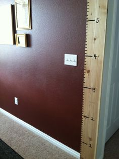 """Our new """"Height Chart.""""  Landon coming in at over 2&1/2 feet and he is barely one year old!!!"""
