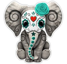 """""""Teal Blue Day of the Dead Sugar Skull Baby Elephant"""" Stickers by Jeff Bartels 