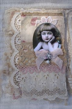 Mixed Media Fabric Collage Book of Pretty Babies | eBay