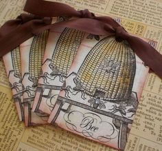 Antique Bee Skep | Antique Bee Skep Tags Set of 3 by CreativeVisions on Etsy