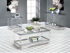 Furniture Of America Mallow Coffee Table Set Coffee Table Sets, Glass Top Coffee  Table,