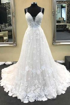Ball Gown V Neck Spaghetti Straps Ivory Lace Long Wedding Dresses WD331 #ivory #weddingdress #vneck