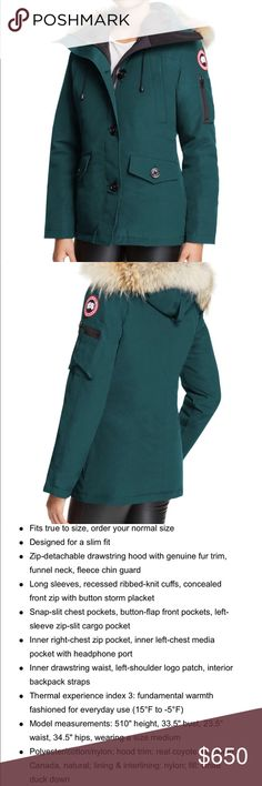 Canada Goose Montebello Fur-Trimmed Down Parka The pictures don't do the color justice. It is truly beautiful. Worn a few times, but is still in mint condition. My coat closet is getting too full and need to get rid of a few! Free Posh concierge service (authentication). ***FREE SHIPPING ON ALL POSH CONCIERGE ORDERS UNTIL 12/31*** Canada Goose Jackets & Coats