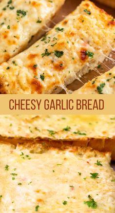 Homemade Garlic Bread, Cheesy Garlic Bread, Garlic Bread With Cheese, Garlic Bread Recipes, Cheesy Bread Recipe, Chefs, Appetizer Recipes, Dinner Recipes, Garlic Spread