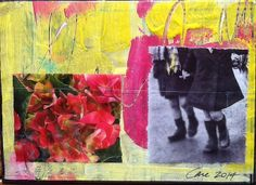 Mixed media postcard by Care Hanson, DIY Postcard Swap 2014 #diypostcardswap #mailart