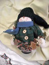 primitive country snowman snow man doll decoration decor gingerbread man