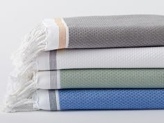 Mediterranean Bath Towels Lightweight, fast-drying and pleasingly textural. Made with GOTS certified organic cotton.
