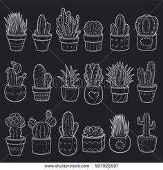 Chalk Cactus Potted Doodle Icons Hand Made Kreidestifte Chalkboard Doodles, Chalkboard Lettering, Chalkboard Designs, Cactus Doodle, Doodle Lettering, Lettering Tattoo, Lettering Ideas, Creative Lettering, Graffiti Lettering