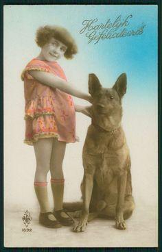 Pretty Deco Child Girl hold German Shepherd Dog original old 1920 photo postcard
