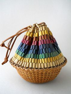 Vintage wooden bead basket purse on Etsy.  $48.00