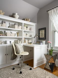 Craft Room Design...this may be the one.....little bigger desk....cubbies on the end, instead of flat board, but then it may be perfection...
