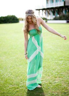 DejaVu — Nautical Summer Maxi Dress (green)