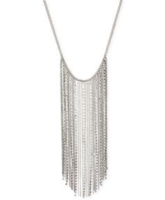 Steve Madden Silver-Tone Crystal Chain Fringe Frontal Necklace