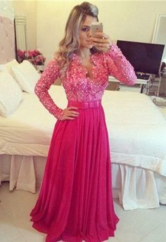 hot pink Prom Dresses,long sleeves prom dress,floor-length prom Dress,charming prom dress,beaded evening dress,BD2811
