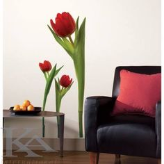 Found it at Wayfair - Room Mates Room Mates Deco 3 Piece Tulip Wall Decal Set Wall Stickers Quotes, Removable Wall Decals, Red Tulips, Unique Wall Decor, Vinyl Wall Art, Vinyl Room, Peel And Stick Wallpaper, Wallpaper Stickers, Cool Walls