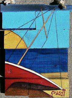 Sailboat in the Sunset on Reclaimed Wood by RoomCharms on Etsy, $34.00
