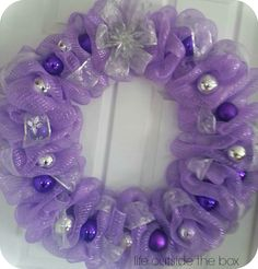 A beautiful 24 inch purple deco mesh wreath! Mesh Ribbon Wreaths, Christmas Mesh Wreaths, Easter Wreaths, Christmas Decorations, Christmas Trees, Holiday Decor, Mesh Wreath Tutorial, Diy Wreath, Ornament Wreath