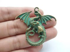 5pcs Dragon Charms Antique Bronze Rustic Patina by Midnightdiy
