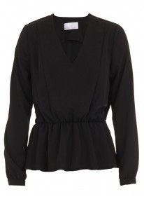 V-neck long-sleeved blouse Black