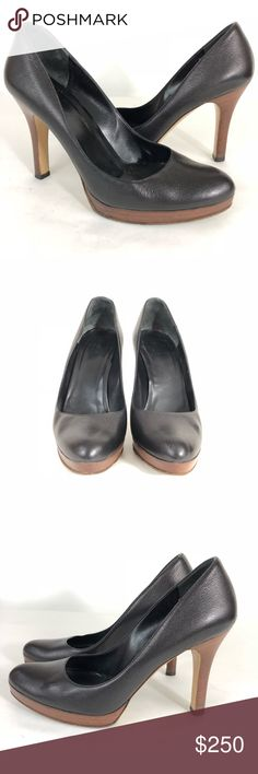 Gucci Black Leather Platform Heels On the back of both shoes, there is a scuff mark.  The wood of the heels has marks from normal wear.  The heels and soles have wear.  View pictures carefully.  Heels are approximately 4.25 inches with a platform of 5/8 inch. Gucci Shoes Heels