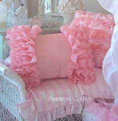 Love the ruffled and rosette pillow, but lighter pinks or whites/creams