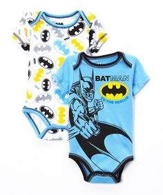 Look at this Light Blue Batman Bodysuit Set - Infant on #zulily today!