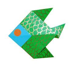 Origami poisson - Poisson en pliage de papier - Origami - Tête à modeler