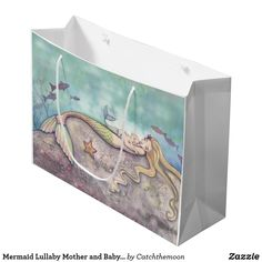 Mermaid Lullaby Mother and Baby Mermaid Fantasy Large Gift Bag Mermaid Baby Showers, Baby Mermaid, Custom Gift Bags, Customized Gifts, Baby Shower Supplies, Party Supplies, Fantasy Mermaids, Large Gift Bags, Ink Illustrations