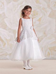 Joan Calabrese Communion Dress 115303 - White Tea length Girls First  Communion Dress. ElsőáldozásKoszorúslány RuhákEljegyzésRuházat 93b1049ba5