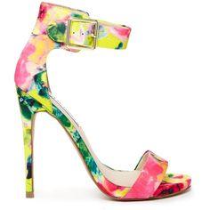 Steve Madden Marlenee Floral Print Heeled Sandals (5,585 INR) ❤ liked on Polyvore
