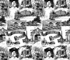 white french script fabric, wallpaper & gift wrap - Spoonflower