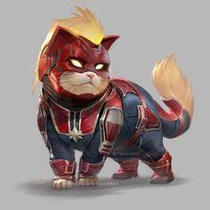 Hero-Cat Captain Marvel by Fajareka Setiawan Ms Marvel, Captain Marvel, Marvel Comics, Marvel Fan Art, Marvel Memes, Marvel Avengers, Captain America, Deadpool Wallpaper, Marvel Wallpaper