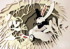 Découvrez les tableaux en relief de Talamaska inspirés d'Alice au pays des merveilles