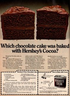 7 classic Hershey's chocolate cake recipes from the For many Americans, a big, sweet part of our past involves chocolate. Check out these three heavenly classic chocolate cake recipes from Hershey's! Hershey Cake, Hershey Chocolate Cakes, Sour Cream Chocolate Cake, Chocolate Fudge Frosting, Fluffy Chocolate Cake, Chocolate Chocolate, Cocoa Powder Recipes, Cocoa Recipes, Chocolate Recipes