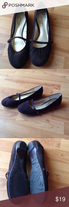 Suede Ballet Style Flat Shoes Great Condition; Brown Suede Ballet Flats with Strap Going Across the Foot Jessica Simpson Shoes Flats & Loafers