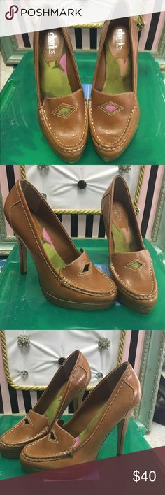 Charles by Charles David tan leather heels sz 7.5 Caramel tan colored oxford style heels with cute detailed stitching on heel and penny loafer feel 7.5 Charles David Shoes Heels